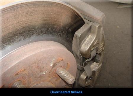 Overheated brakes.