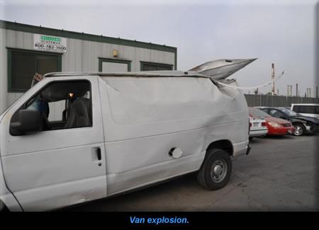 Van explosion.