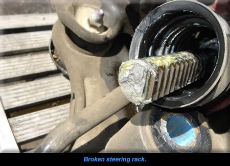 Broken steering rack.
