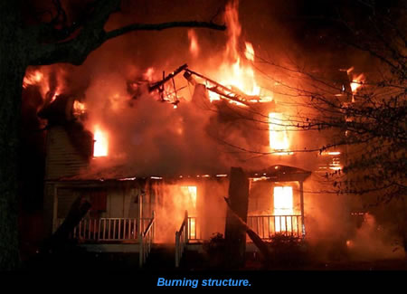 Burning structure.