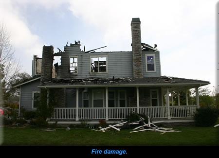 Fire damage.