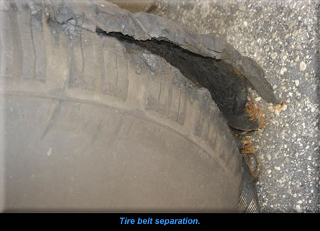 Tire belt separation.