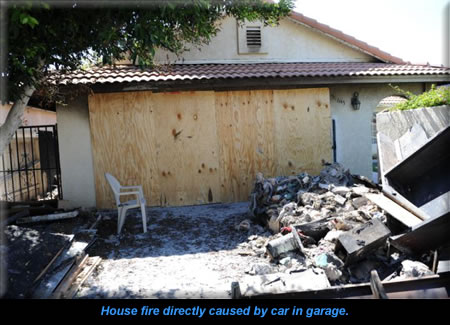 House fire directly caused by car in garage.