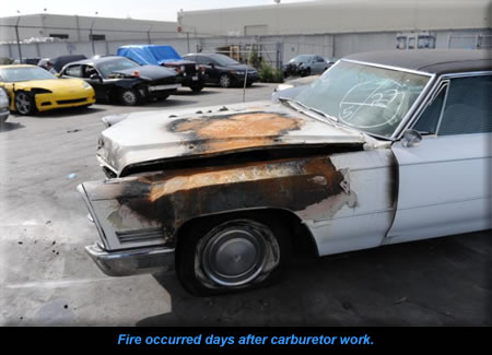 Fire occurred days after carburetor work.
